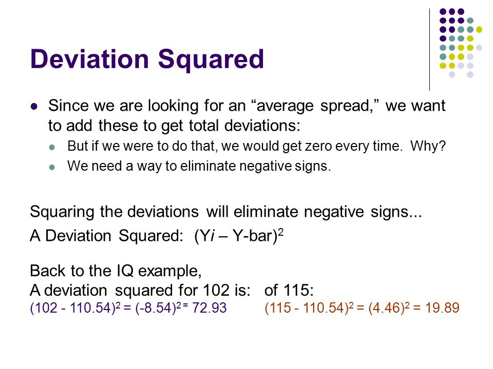 """Deviation Squared Since we are looking for an """"average spread,"""" we want to add these to get total deviations: But if we were to do that, we would get"""