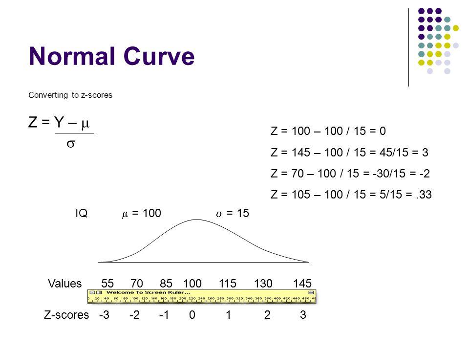 Normal Curve Converting to z-scores Z = Y –   Values 55 70 85 100 115 130 145 Z-scores -3 -2 -1 0 1 2 3 IQ  = 100  = 15 Z = 100 – 100 / 15 = 0 Z =