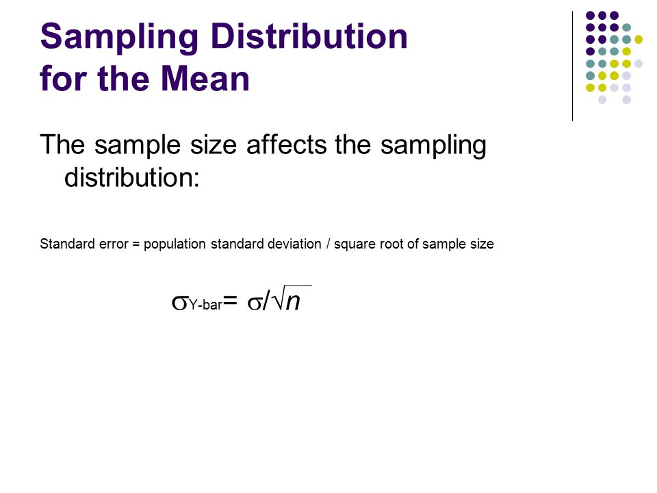 Sampling Distribution for the Mean The sample size affects the sampling distribution: Standard error = population standard deviation / square root of