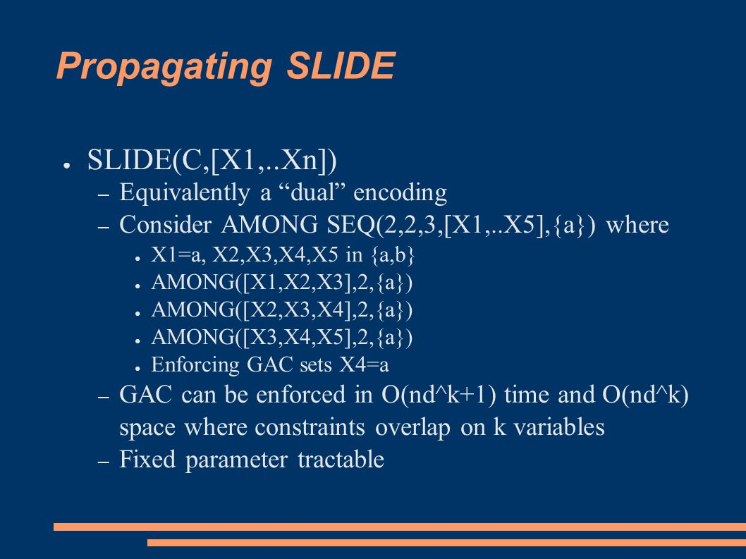"Propagating SLIDE ● SLIDE(C,[X1,..Xn]) – Equivalently a ""dual"" encoding – Consider AMONG SEQ(2,2,3,[X1,..X5],{a}) where ● X1=a, X2,X3,X4,X5 in {a,b} ●"