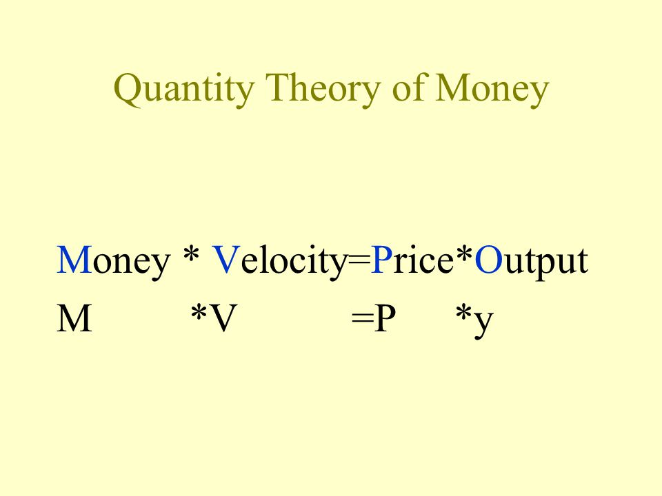 Quantity Theory of Money Money * Velocity=Price*Output M*V =P*y