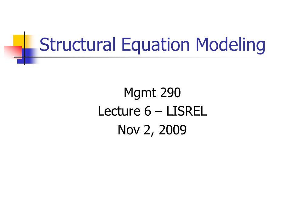 Example in LISREL TI Stability of Alienation DA NI=6 NO=932 NG=1 MA=CM LA ANOMIA67 POWERL67 ANOMIA71 POWERL71 EDUC SEI CM 11.83 6.95 9.36 6.82 5.09 12.53 4.78 5.03 7.50 9.99 -3.84 -3.89 -3.84 -3.63 9.61 -2.19 -1.88 -2.18 -1.88 3.55 4.50 ME 0.00 0.00 0.00 0.00 0.00 0.00 SE 1 2 3 4 5 6 / MO NX=2 NY=4 NK=1 NE=2 LY=FU,FI LX=FU,FI BE=FU,FI GA=FU,FI PH=SY,FR PS=DI,FR TE=DI,FR TD=DI,FR LE Alien67 Alien71 LK Ses FI PH(1,1) PS(1,1) PS(2,2) FR LY(1,1) LY(2,1) LY(3,2) LY(4,2) LX(1,1) LX(2,1) BE(2,1) GA(1,1) GA(2,1) VA 1.00 PH(1,1) VA 0.68 PS(1,1) VA 0.50 PS(2,2) PD OU ME=ML