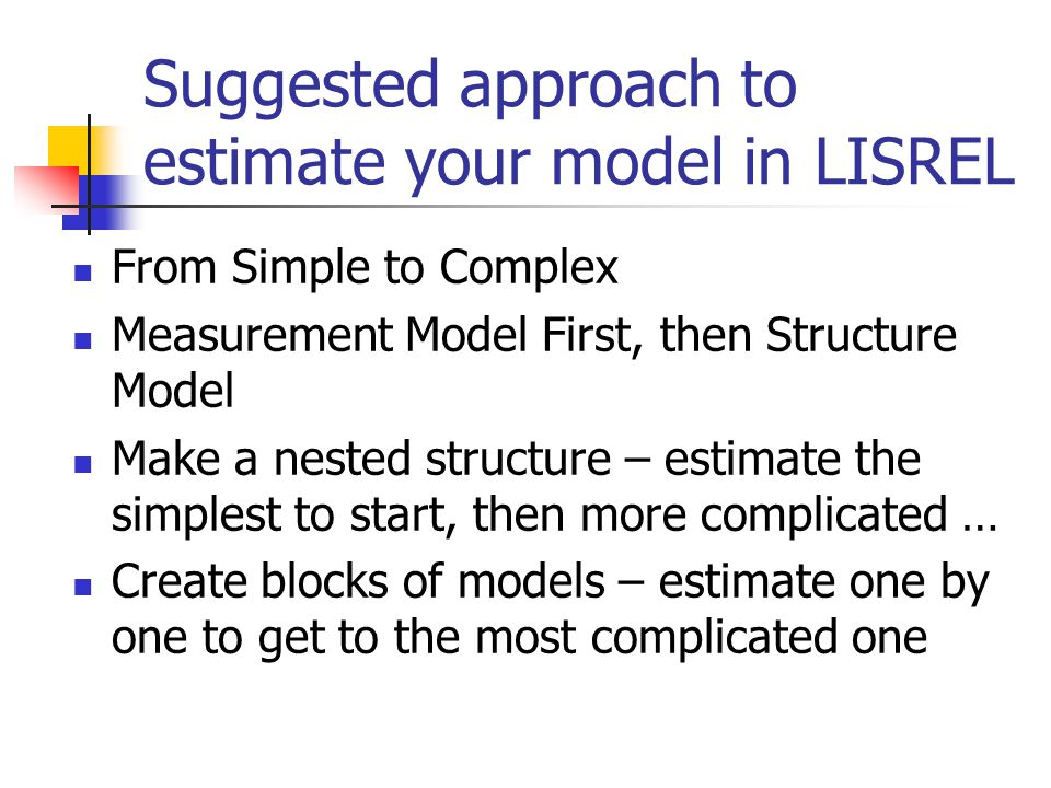 3 Kinds of LISREL Language LISREL SIMPLIS – simple version of LISREL PRELIS – pre LISREL to handle data