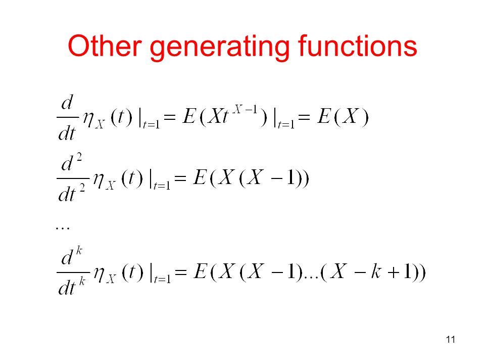 Other generating functions 11