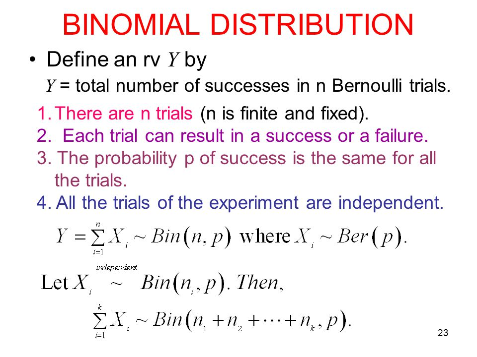 23 BINOMIAL DISTRIBUTION Define an rv Y by Y = total number of successes in n Bernoulli trials. 1.There are n trials (n is finite and fixed). 2. Each