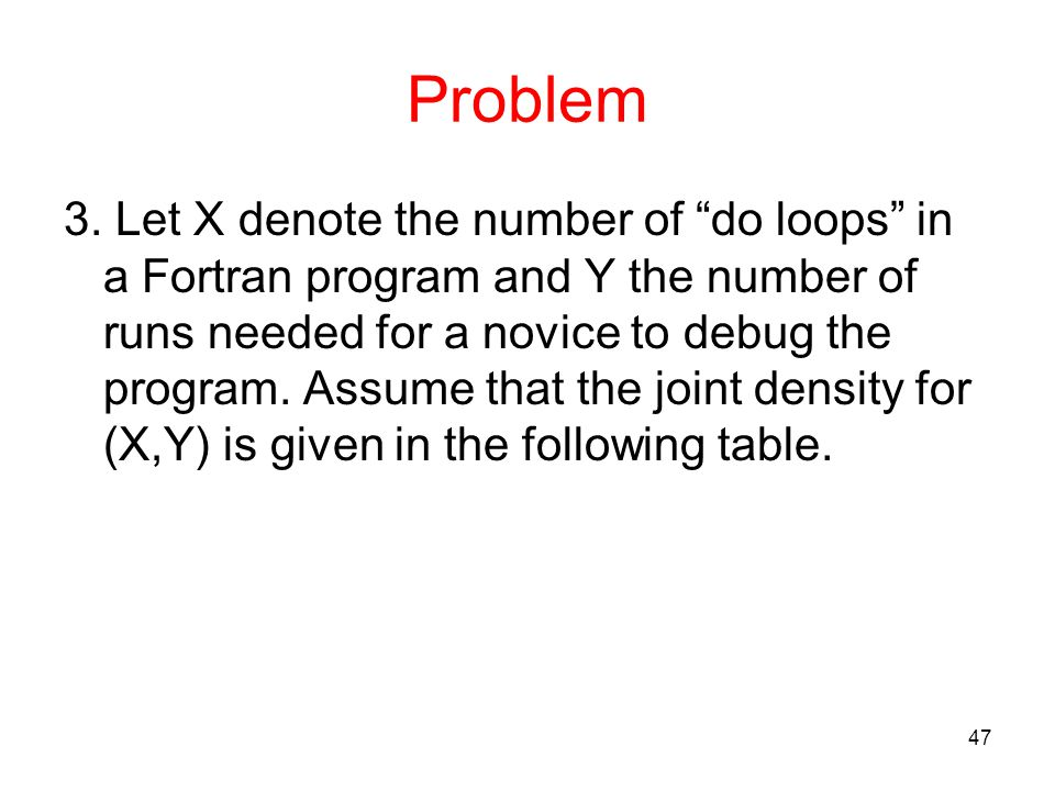 "Problem 3. Let X denote the number of ""do loops"" in a Fortran program and Y the number of runs needed for a novice to debug the program. Assume that t"