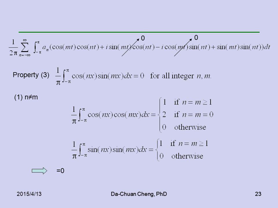 Da-Chuan Cheng, PhD232015/4/13Da-Chuan Cheng, PhD23 Property (3) 0 0 (1) n≠m =0