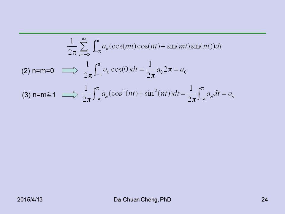 Da-Chuan Cheng, PhD242015/4/13Da-Chuan Cheng, PhD24 (2) n=m=0 (3) n=m ≧ 1