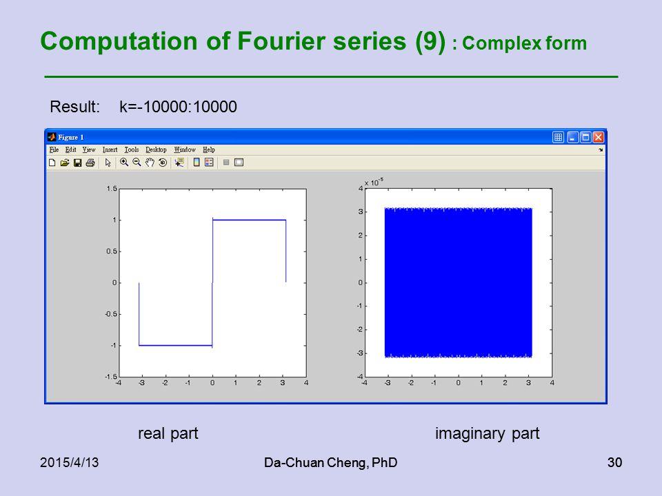 Da-Chuan Cheng, PhD302015/4/13Da-Chuan Cheng, PhD30 Computation of Fourier series (9) : Complex form Result: k=-10000:10000 real partimaginary part