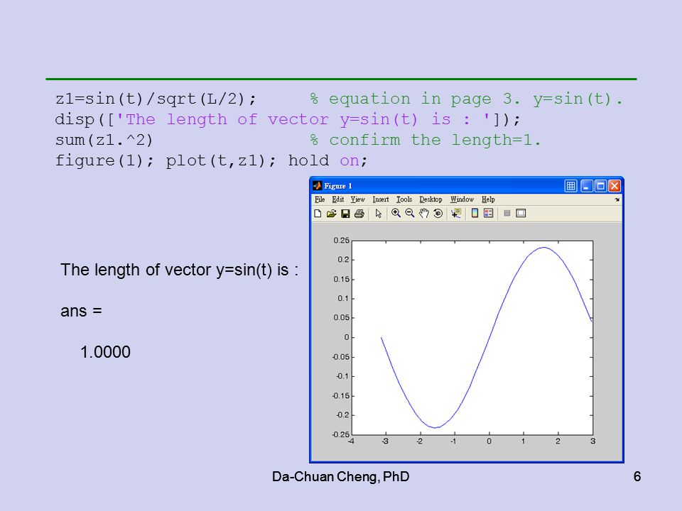6 6 z1=sin(t)/sqrt(L/2); % equation in page 3. y=sin(t).