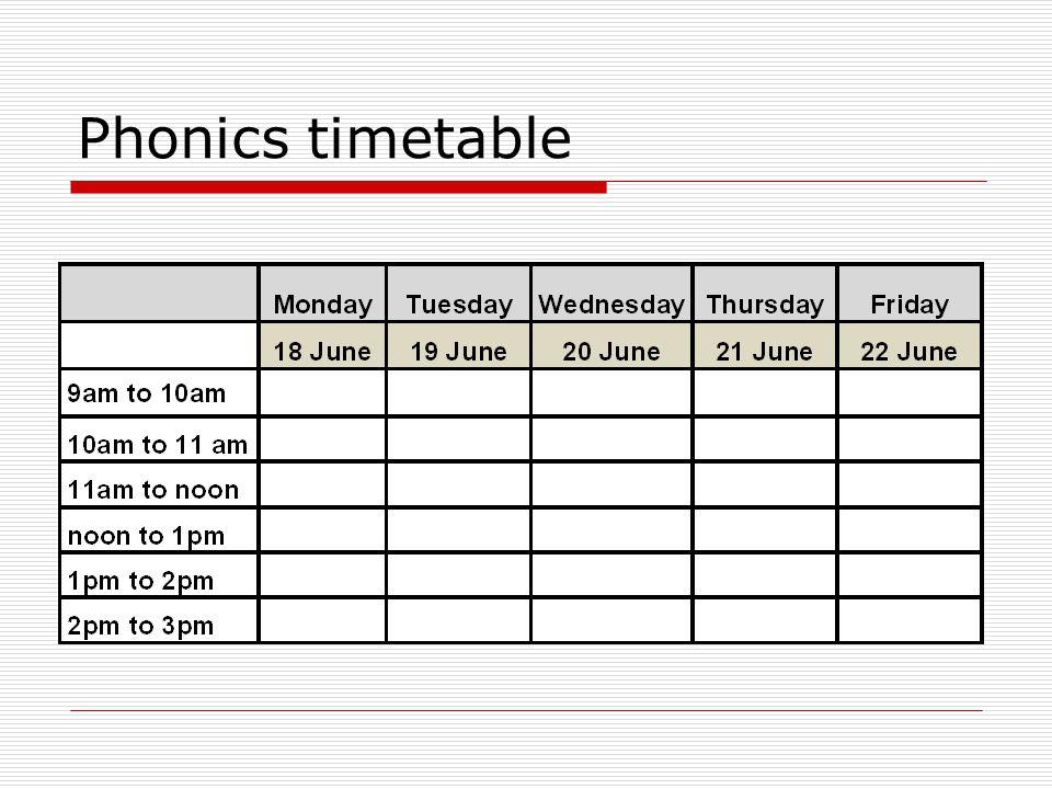 Phonics timetable