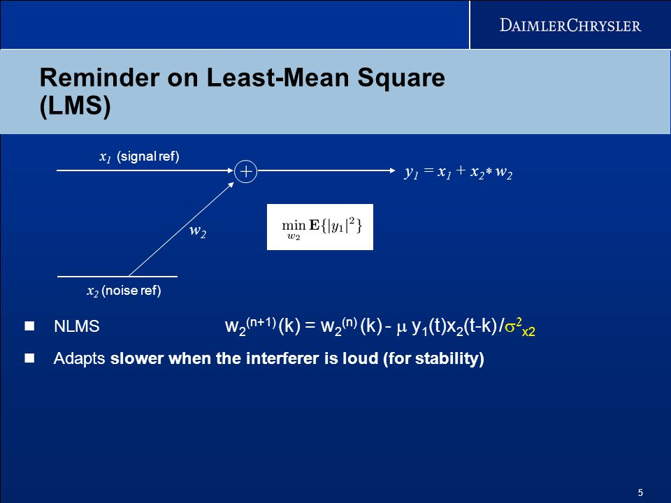 5 Reminder on Least-Mean Square (LMS) w2w2 x 1 (signal ref) x 2 (noise ref) + y 1 = x 1 + x 2 * w 2 NLMS w 2 (n+1) (k) = w 2 (n) (k) -  y 1 (t)x 2 (t-k) /   x2 Adapts slower when the interferer is loud (for stability)
