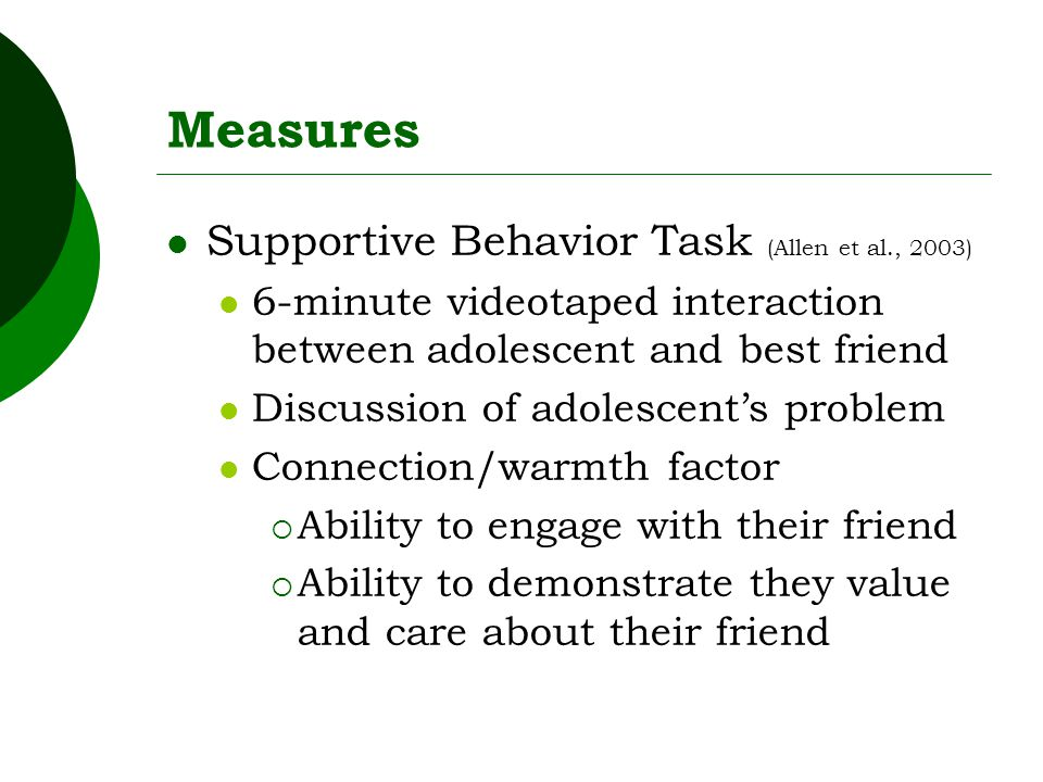 Measures Supportive Behavior Task (Allen et al., 2003) 6-minute videotaped interaction between adolescent and best friend Discussion of adolescent's problem Connection/warmth factor  Ability to engage with their friend  Ability to demonstrate they value and care about their friend
