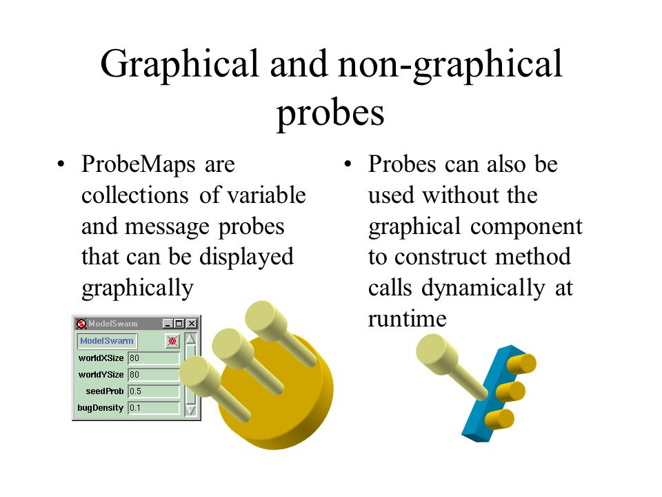 Graphical and non-graphical probes ProbeMaps are collections of variable and message probes that can be displayed graphically Probes can also be used without the graphical component to construct method calls dynamically at runtime