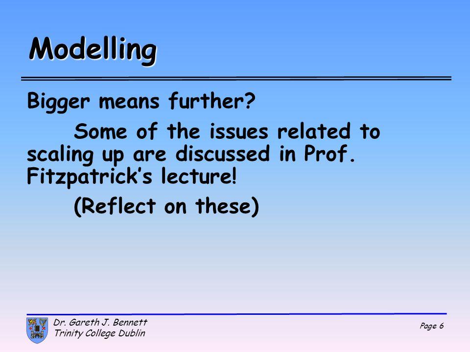 Page 27 Dr. Gareth J. Bennett Trinity College Dublin Dynamics y 2 =y 1 +v y1 Δ t+1/2a y1 Δ t 2