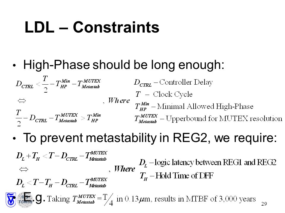 ICS- FORTH 29 LDL – Constraints High-Phase should be long enough: To prevent metastability in REG2, we require: E.g.