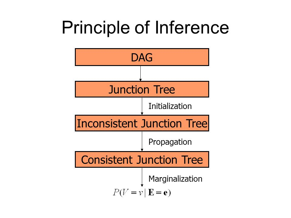 Principle of Inference DAG Junction Tree Inconsistent Junction Tree Initialization Consistent Junction Tree Propagation Marginalization