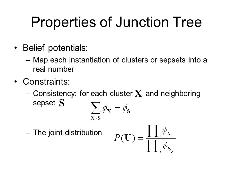 Properties of Junction Tree Belief potentials: –Map each instantiation of clusters or sepsets into a real number Constraints: –Consistency: for each cluster and neighboring sepset –The joint distribution