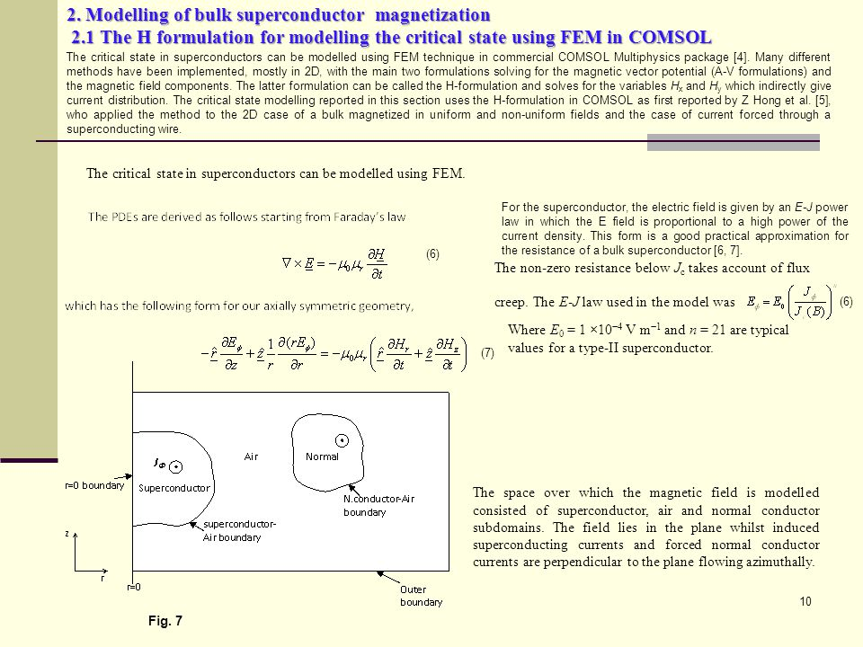 2. Modelling of bulk superconductor magnetization 2.1 The H formulation for modelling the critical state using FEM in COMSOL 10 The space over which t