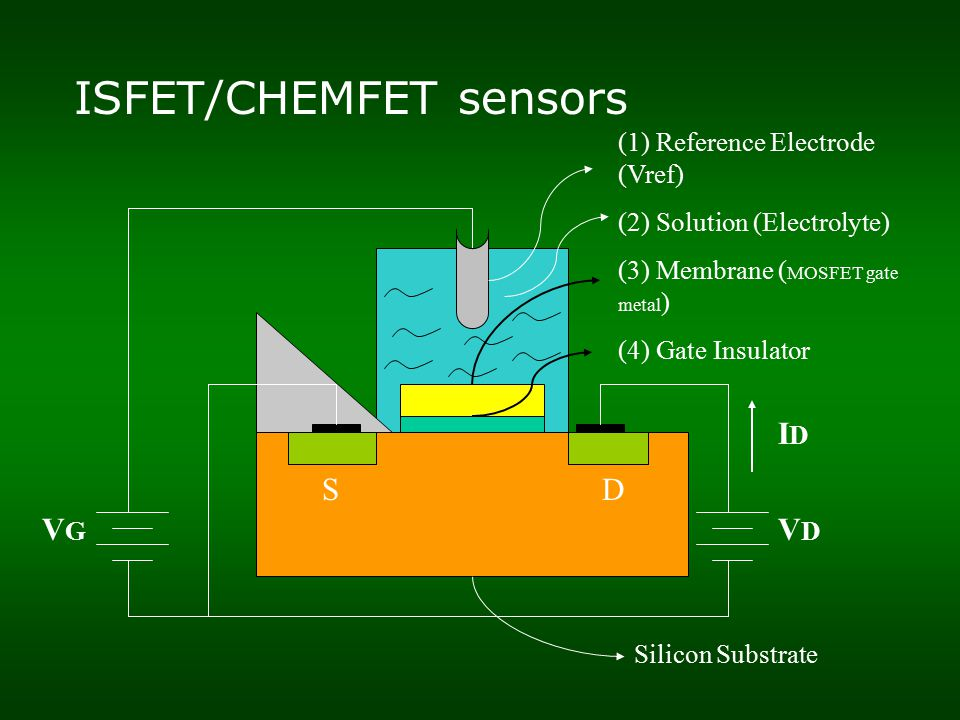 ISFET/CHEMFET sensors SD (1) Reference Electrode (Vref) (2) Solution (Electrolyte) (3) Membrane ( MOSFET gate metal ) (4) Gate Insulator VGVG VDVD IDID Silicon Substrate
