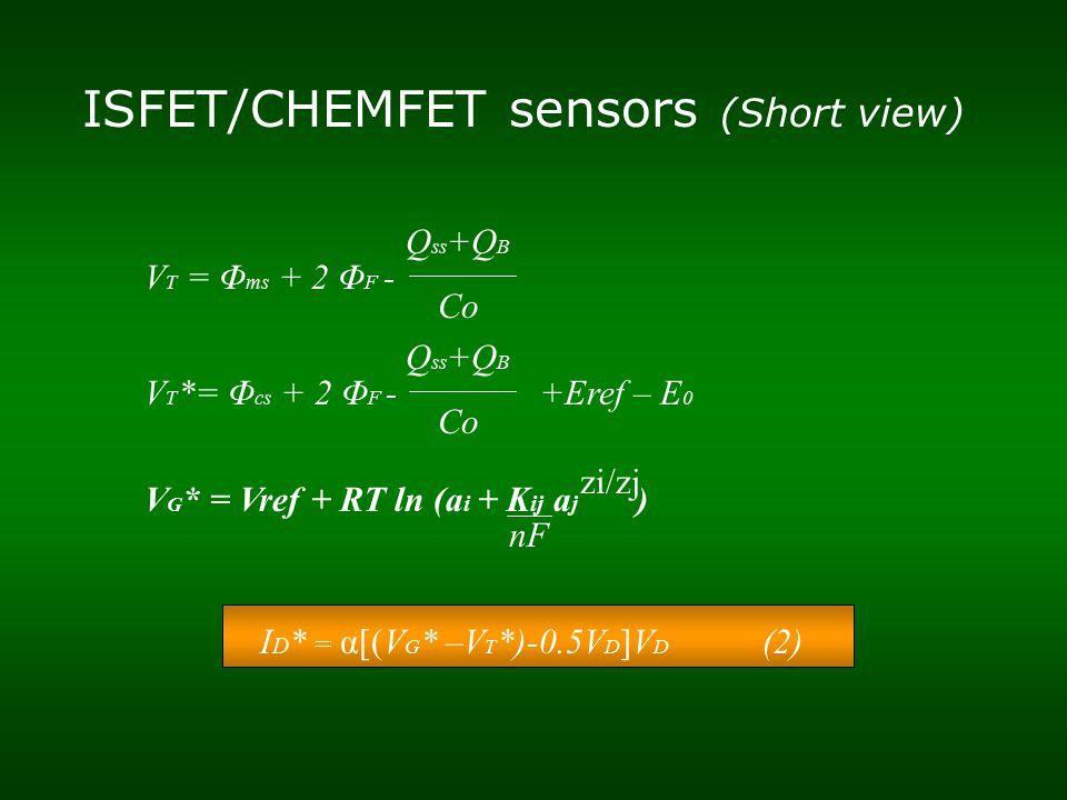 ISFET/CHEMFET sensors (Short view) V T = Φ ms + 2 Φ F - Q ss +Q B Co V T *= Φ cs + 2 Φ F - +Eref – E 0 Q ss +Q B Co V G * = Vref + RT ln (a i + K ij a j ) nF zi/zj I D * = α[(V G * –V T *)-0.5V D ]V D (2)