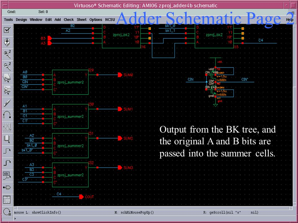 Adder Schematic Page 2 Output from the BK tree, and the original A and B bits are passed into the summer cells.