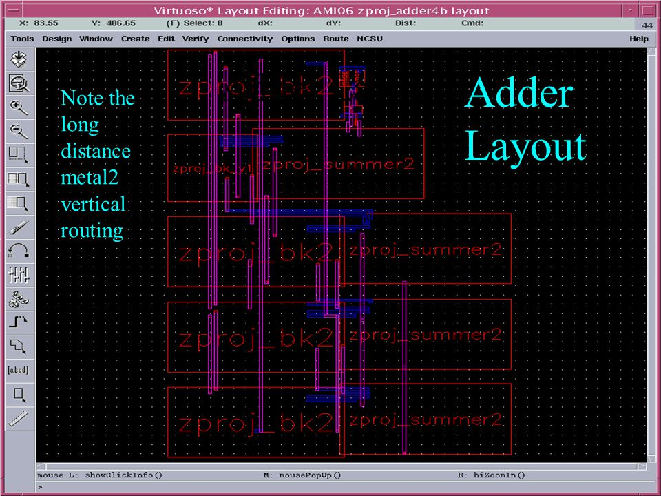 Adder Layout Note the long distance metal2 vertical routing