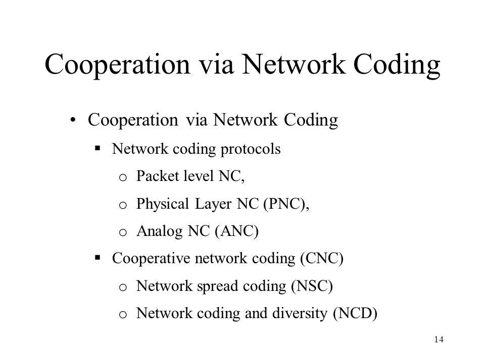 Cooperation via Network Coding 14 Cooperation via Network Coding  Network coding protocols o Packet level NC, o Physical Layer NC (PNC), o Analog NC