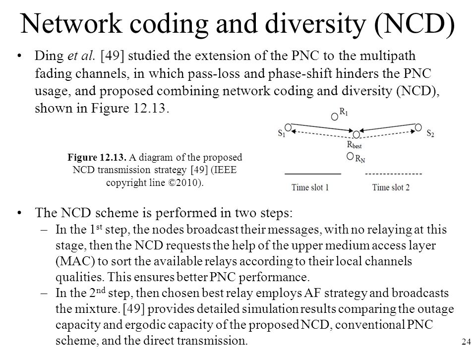 Network coding and diversity (NCD) Ding et al. [49] studied the extension of the PNC to the multipath fading channels, in which pass-loss and phase-sh