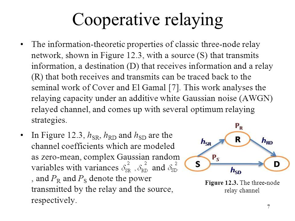 Cooperative relaying The information-theoretic properties of classic three-node relay network, shown in Figure 12.3, with a source (S) that transmits