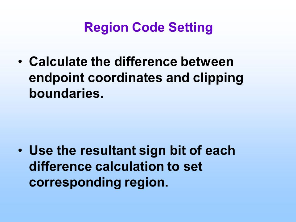 Region Code Setting Calculate the difference between endpoint coordinates and clipping boundaries.