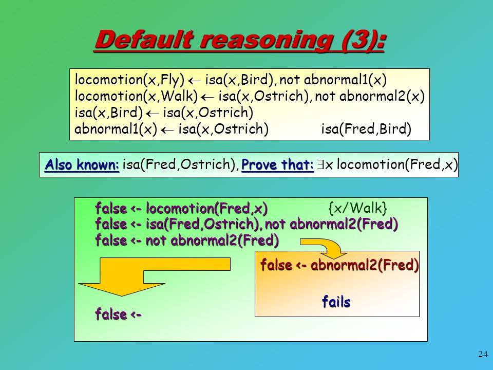 24 Default reasoning (3): Also known: isa(Fred,Ostrich), Prove that:  x locomotion(Fred,x) locomotion(x,Fly)  isa(x,Bird), not abnormal1(x) locomoti