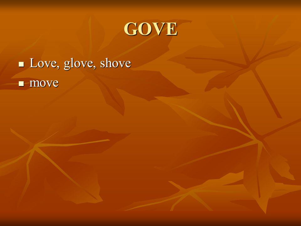 GOVE Love, glove, shove Love, glove, shove move move