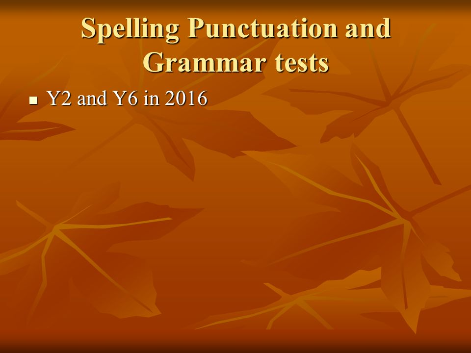 Spelling Punctuation and Grammar tests Y2 and Y6 in 2016 Y2 and Y6 in 2016