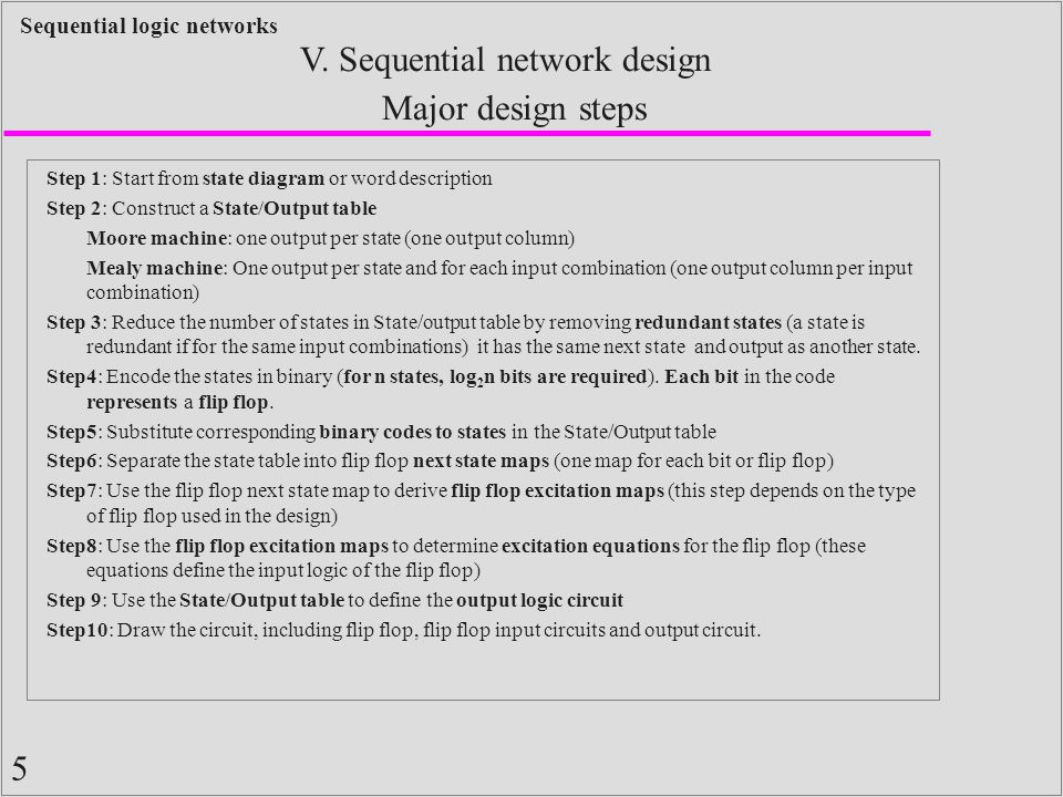 5 Sequential logic networks Step 1: Start from state diagram or word description Step 2: Construct a State/Output table Moore machine: one output per