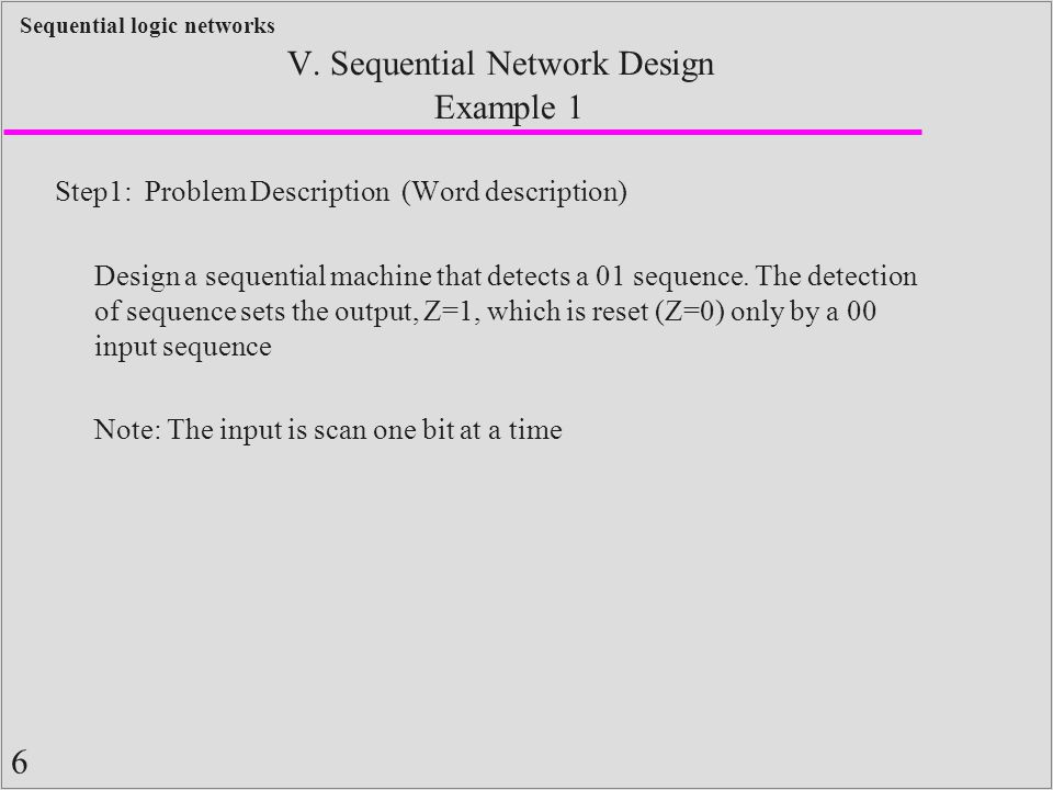 6 Sequential logic networks Example 1 Step1: Problem Description (Word description) Design a sequential machine that detects a 01 sequence. The detect