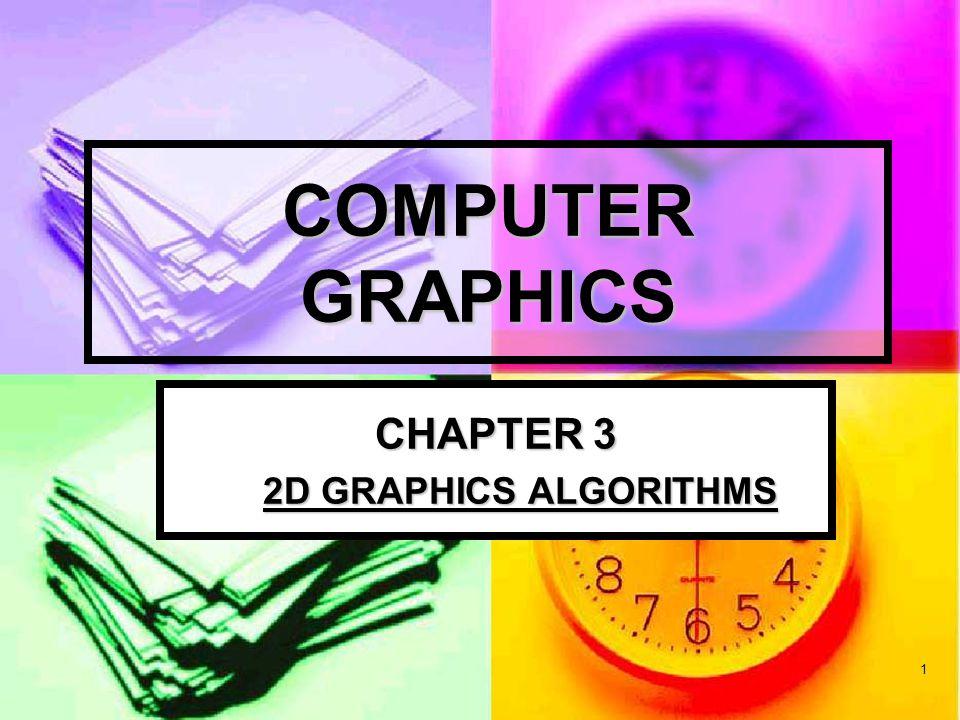 2 2D Graphics Algorithms Output Primitives Output Primitives Line Drawing Algorithms Line Drawing Algorithms DDA Algorithm DDA Algorithm Midpoint Algorithm Midpoint Algorithm Bersenhem's Algorithm Bersenhem's Algorithm Circle Drawing Algorithms Circle Drawing Algorithms Midpoint Circle Algorithm Midpoint Circle Algorithm Antialising Antialising Fill-Area Algorithms Fill-Area Algorithms