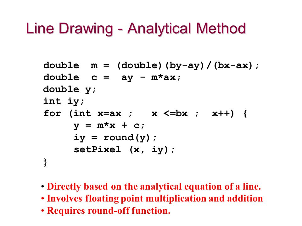 Directly based on the analytical equation of a line. Involves floating point multiplication and addition Requires round-off function. double m = (doub