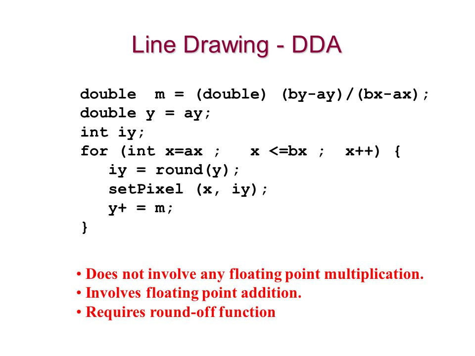 Does not involve any floating point multiplication. Involves floating point addition. Requires round-off function Line Drawing - DDA double m = (doubl