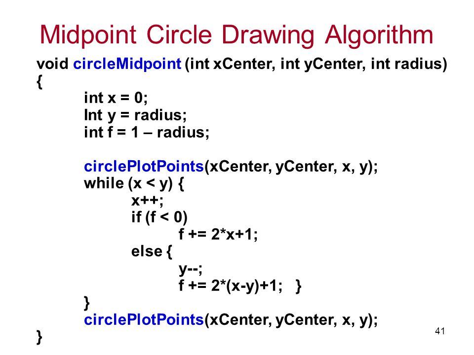 TCS2111 41 Midpoint Circle Drawing Algorithm void circleMidpoint (int xCenter, int yCenter, int radius) { int x = 0; Int y = radius; int f = 1 – radiu