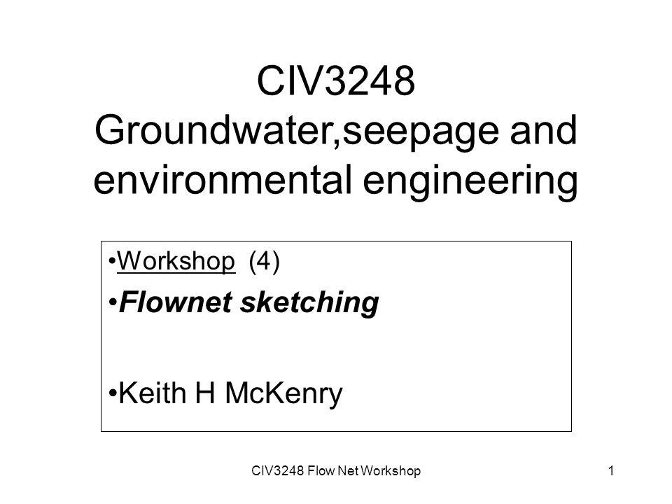 CIV3248 Flow Net Workshop1 CIV3248 Groundwater,seepage and environmental engineering Workshop (4) Flownet sketching Keith H McKenry