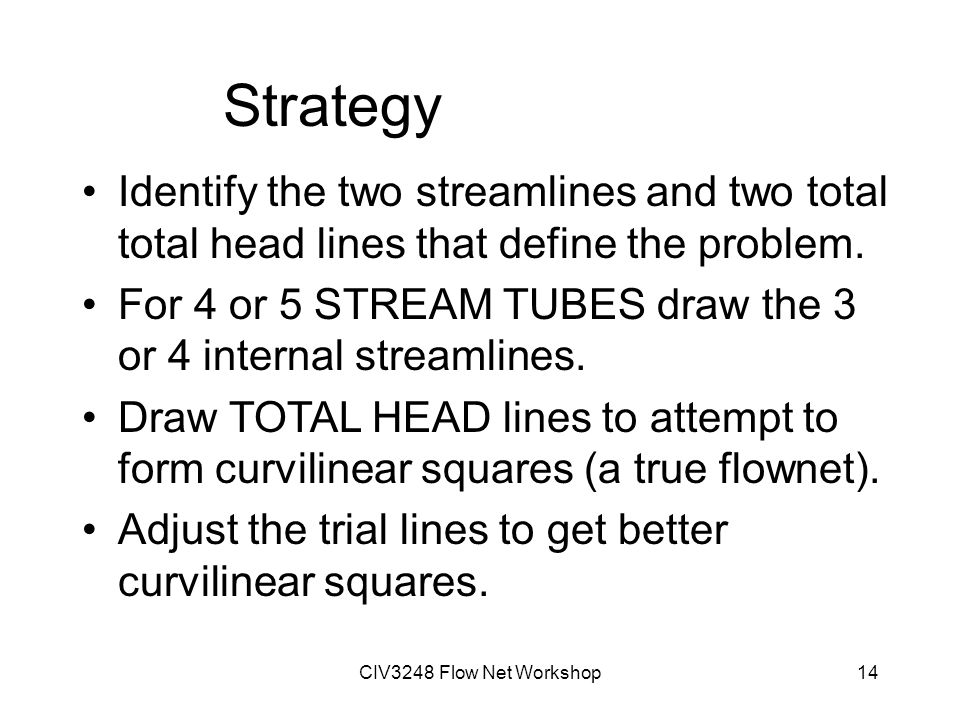 CIV3248 Flow Net Workshop14 Strategy Identify the two streamlines and two total total head lines that define the problem.