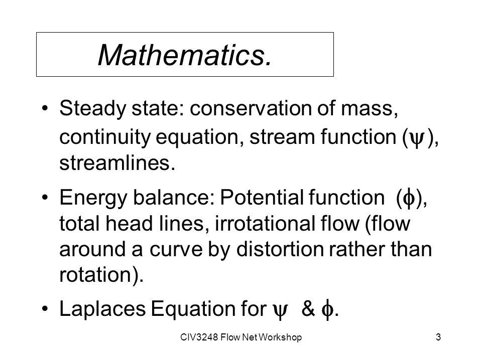 CIV3248 Flow Net Workshop3 Mathematics.