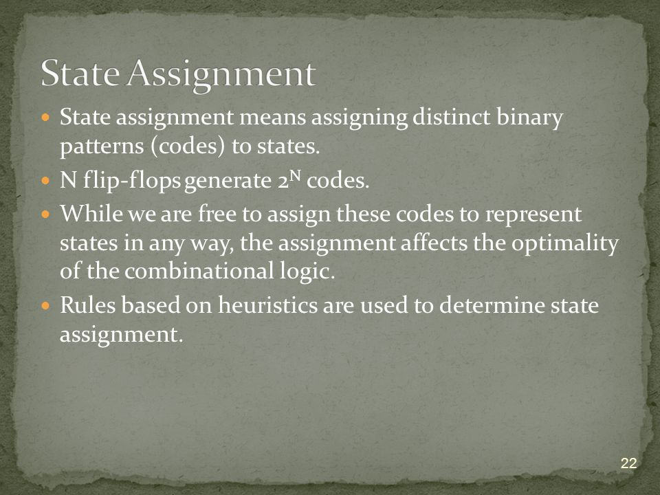 State assignment means assigning distinct binary patterns (codes) to states.