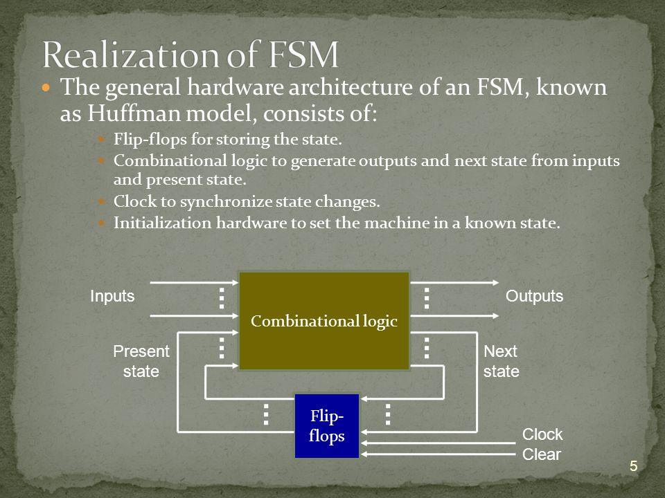An FSM contains flip-flops and combinational logic: Number of flip-flops, N ff = log 2 N s, N s = #states Size of combinational logic depends on state assignment.