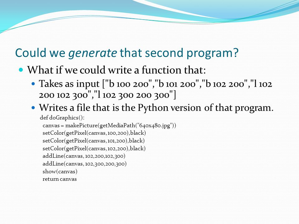 Could we generate that second program.