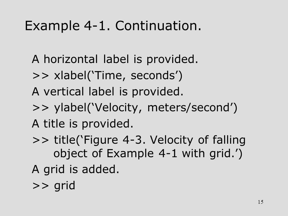 15 Example 4-1. Continuation. A horizontal label is provided. >> xlabel('Time, seconds') A vertical label is provided. >> ylabel('Velocity, meters/sec