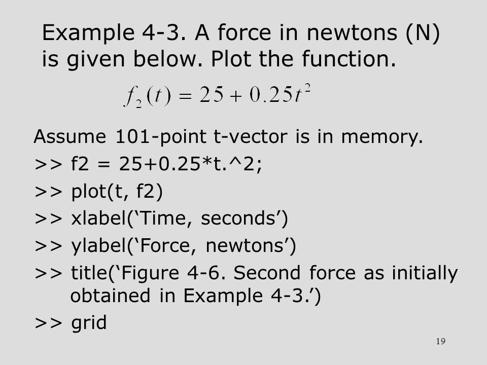 19 Example 4-3. A force in newtons (N) is given below. Plot the function. Assume 101-point t-vector is in memory. >> f2 = 25+0.25*t.^2; >> plot(t, f2)