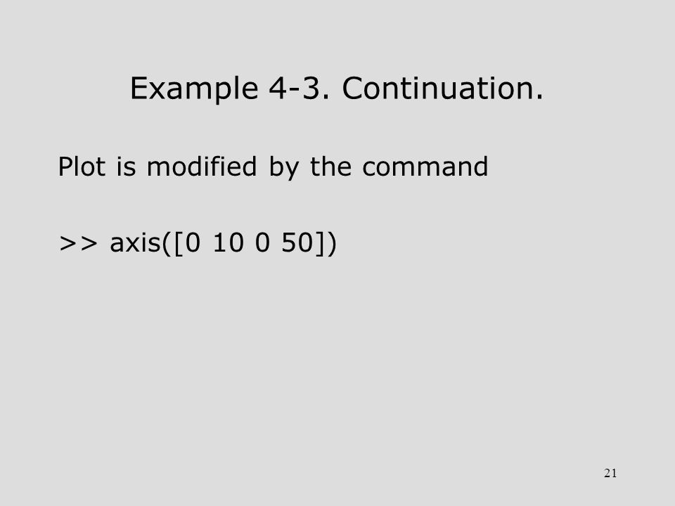 21 Example 4-3. Continuation. Plot is modified by the command >> axis([0 10 0 50])