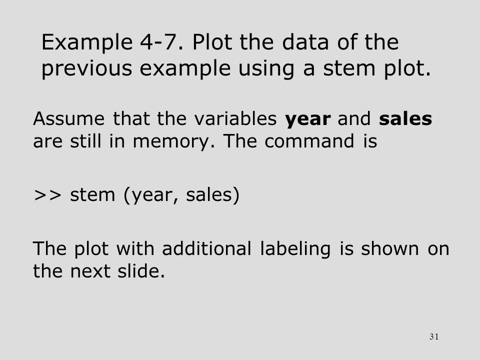 31 Example 4-7. Plot the data of the previous example using a stem plot. Assume that the variables year and sales are still in memory. The command is